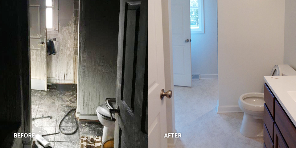 Before and after of a fire-damaged bathroom