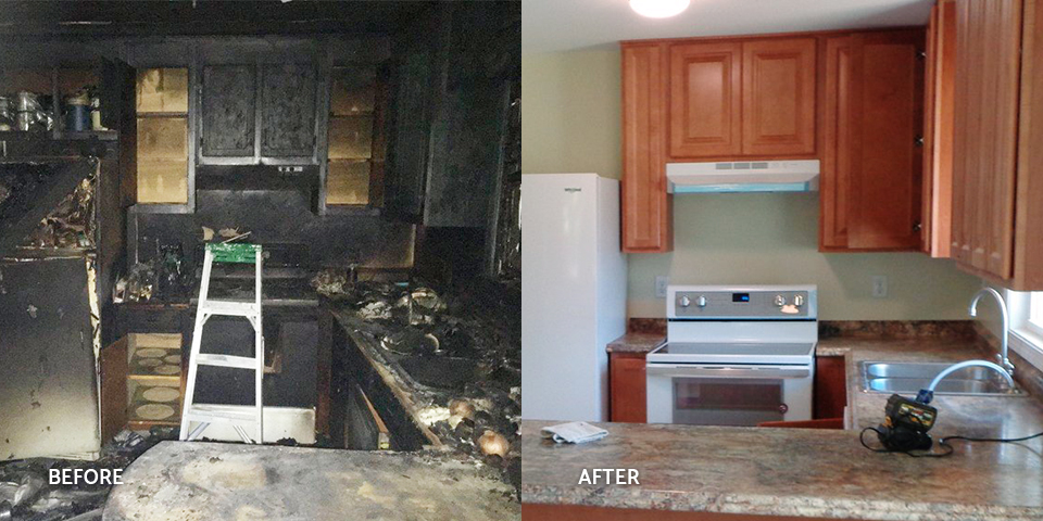 Before and after of a fire-damaged kitchen
