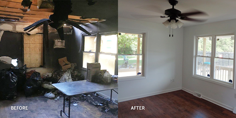 Before and after of a fire-damaged living room