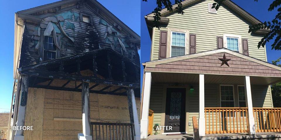 Before and after of a fire-damaged house