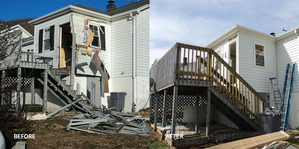 Before and after of the back of a storm-damaged house