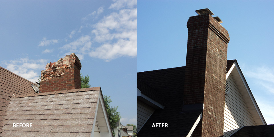 Before and after of a damaged brick chimney