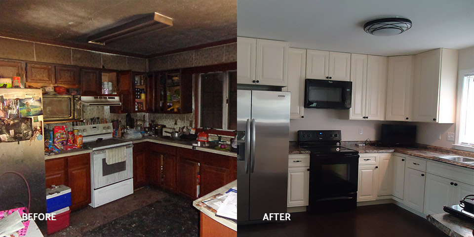 Before and after of a kitchen fire