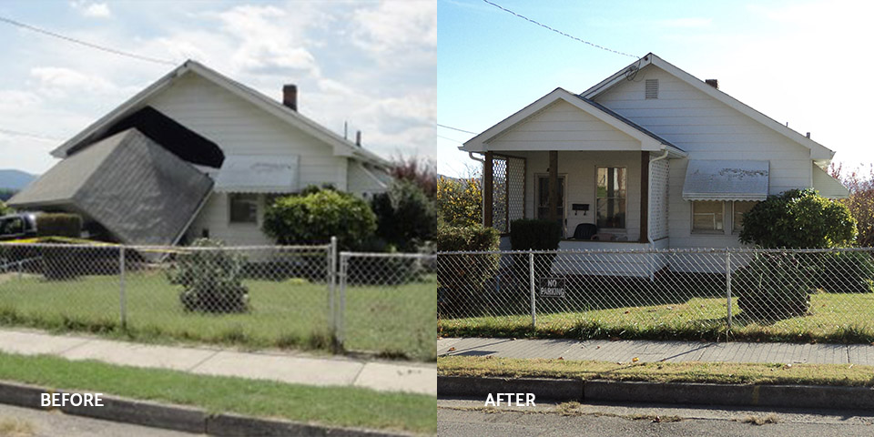 Before and after of a front porch damaged by a car