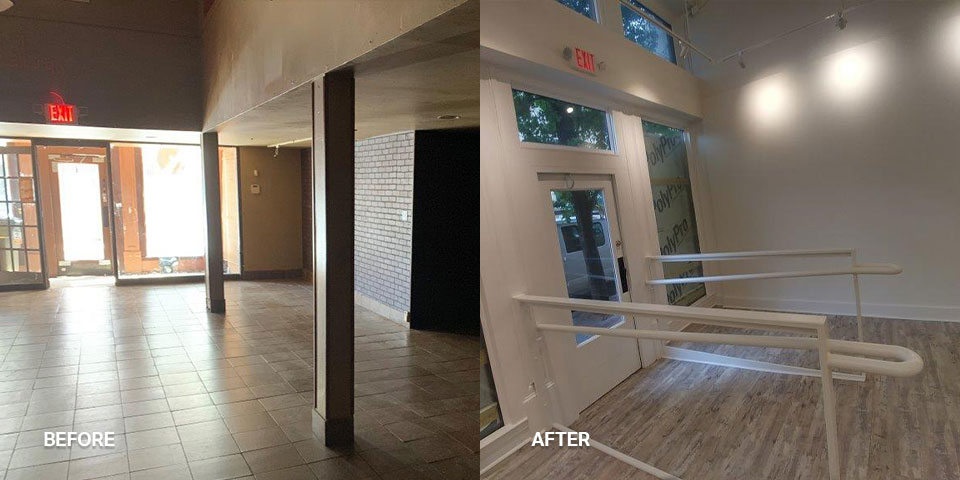 A photo of a remodeled business entrance with a more modern style
