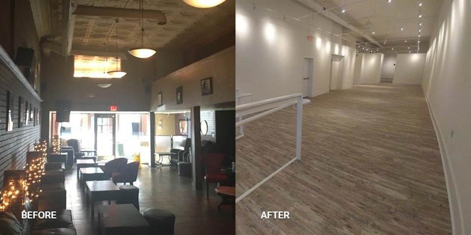 A photo of a remodeled business space with a more modern style