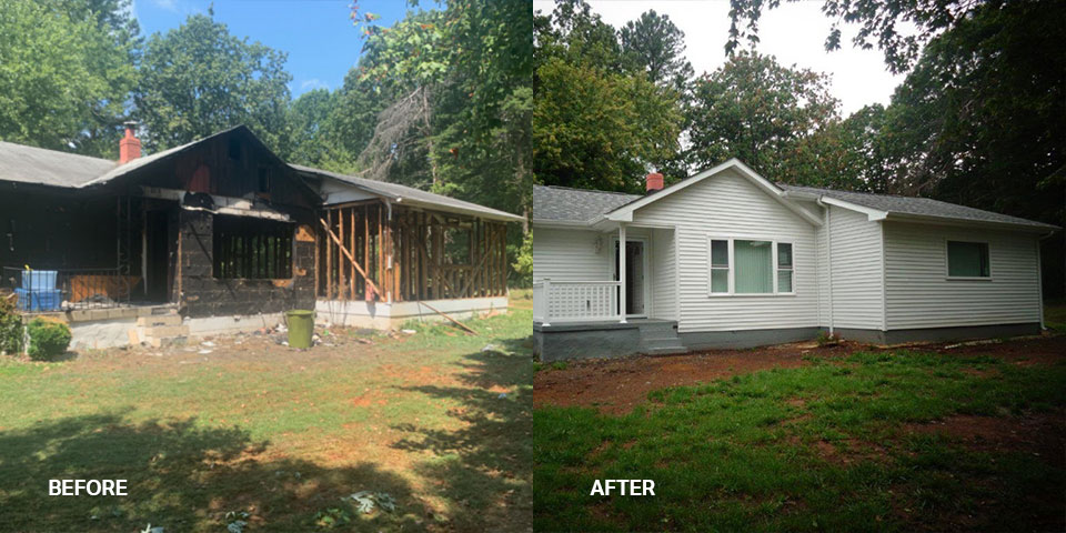 A before and after photo of a fire-damaged house