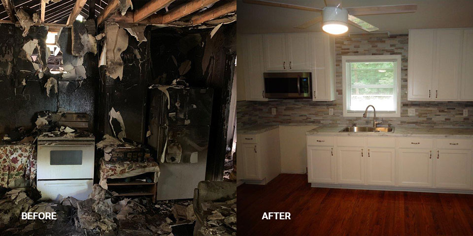 A before and after photo of a severely fire-damaged kitchen