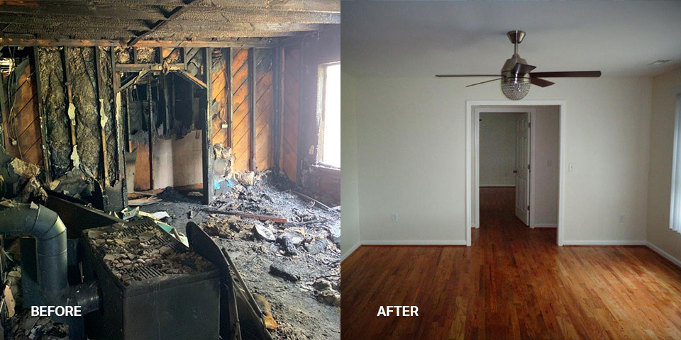 A before and after photo of a burned-out living room
